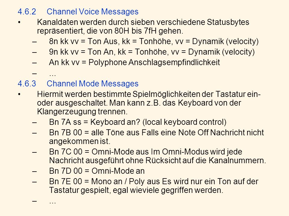 4.6.2 Channel Voice Messages