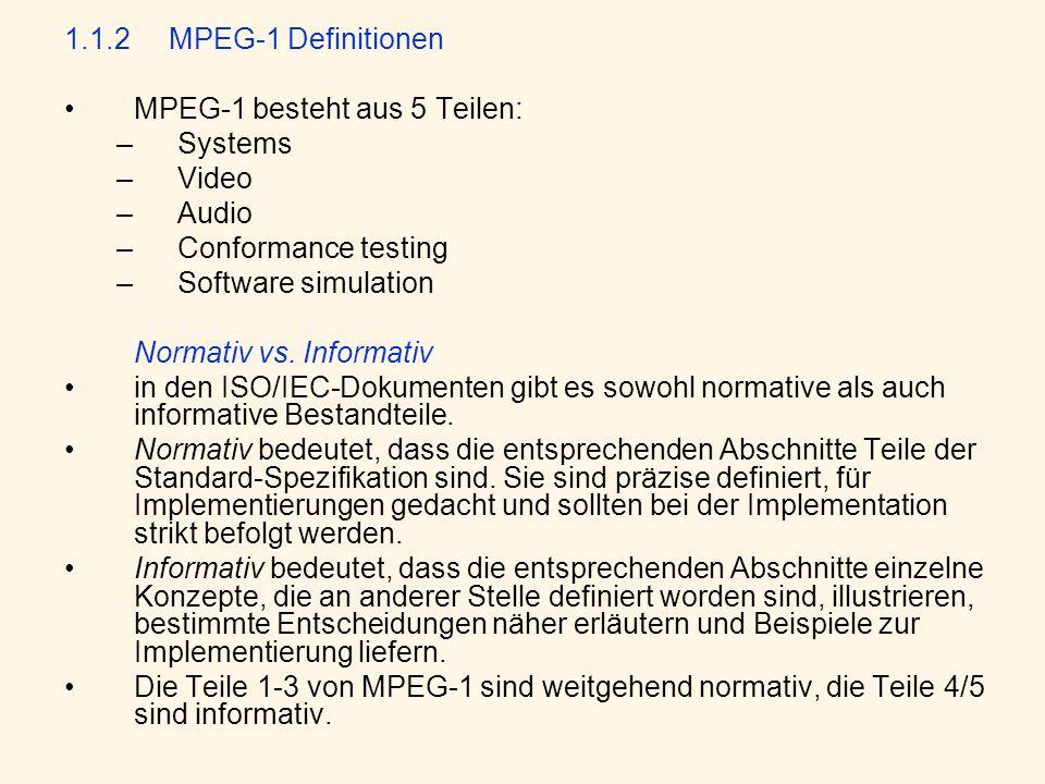 1.1.2 MPEG-1 Definitionen MPEG-1 besteht aus 5 Teilen: Systems. Video. Audio. Conformance testing.