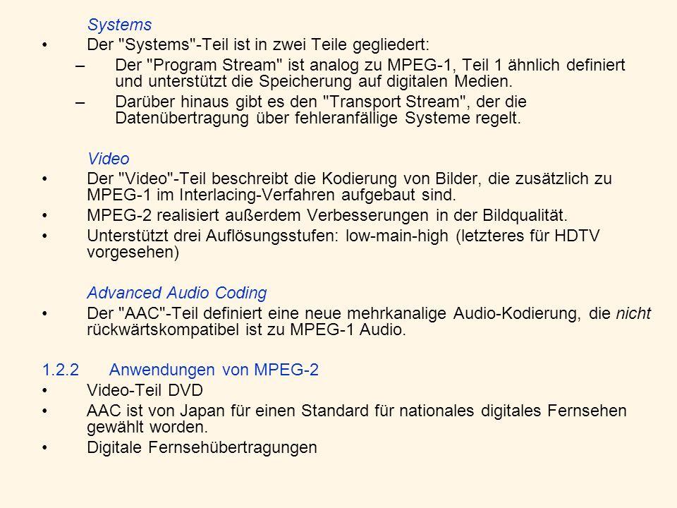 Systems Der Systems -Teil ist in zwei Teile gegliedert: