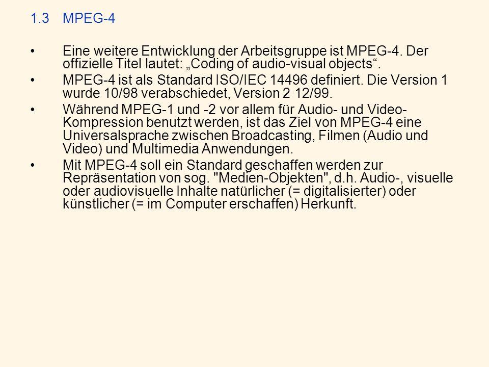 """1.3 MPEG-4 Eine weitere Entwicklung der Arbeitsgruppe ist MPEG-4. Der offizielle Titel lautet: """"Coding of audio-visual objects ."""