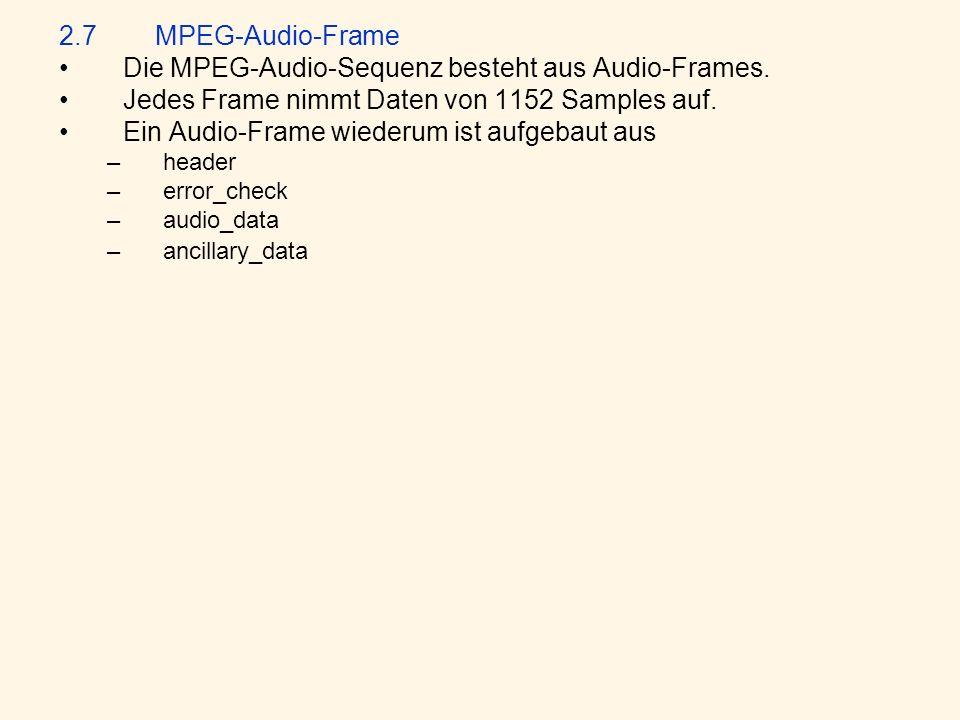 Die MPEG-Audio-Sequenz besteht aus Audio-Frames.