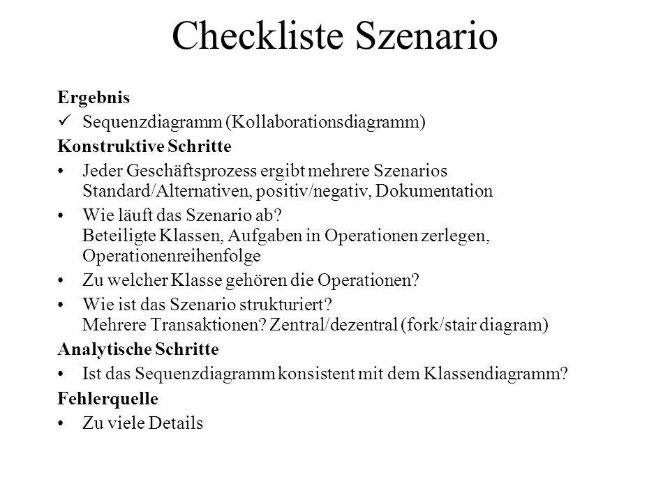 Checkliste Szenario Ergebnis Sequenzdiagramm (Kollaborationsdiagramm)