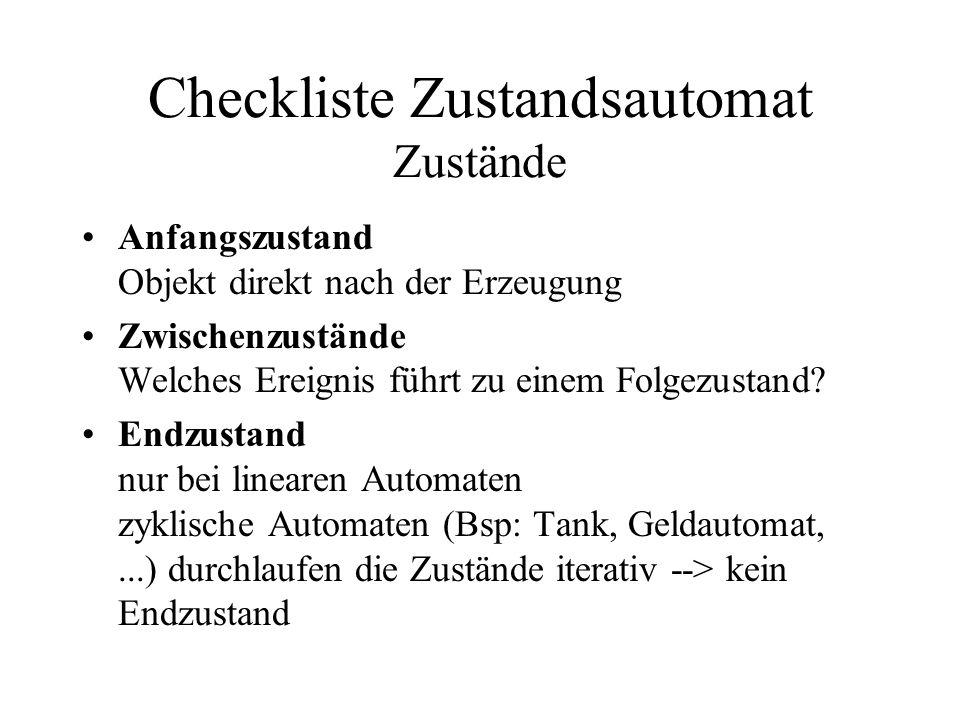Checkliste Zustandsautomat Zustände