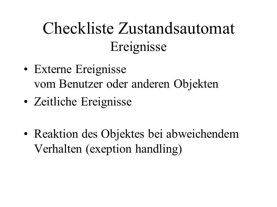 Checkliste Zustandsautomat Ereignisse