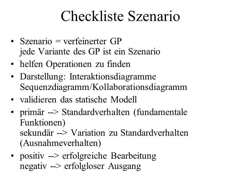 Checkliste Szenario Szenario = verfeinerter GP jede Variante des GP ist ein Szenario. helfen Operationen zu finden.