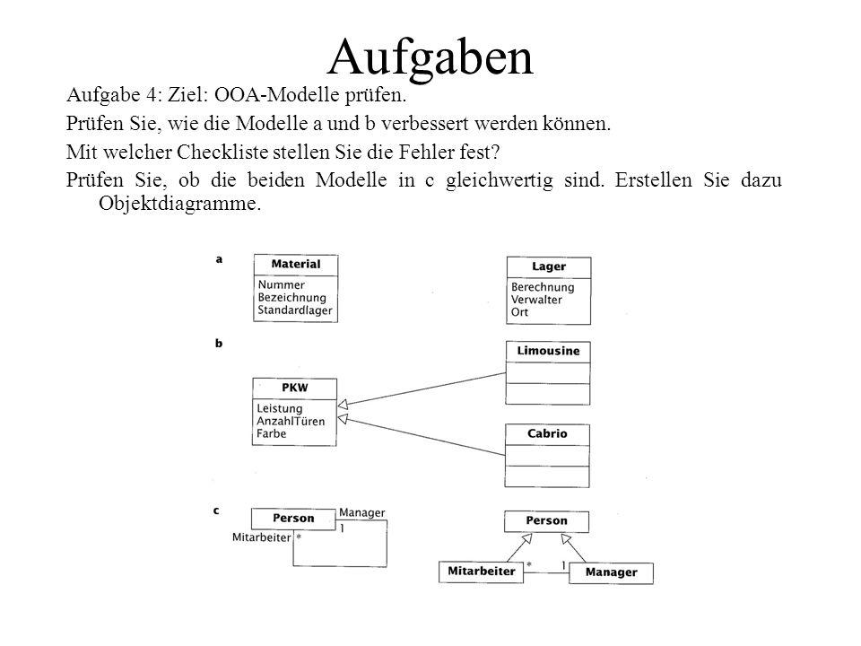 Aufgaben Aufgabe 4: Ziel: OOA-Modelle prüfen.