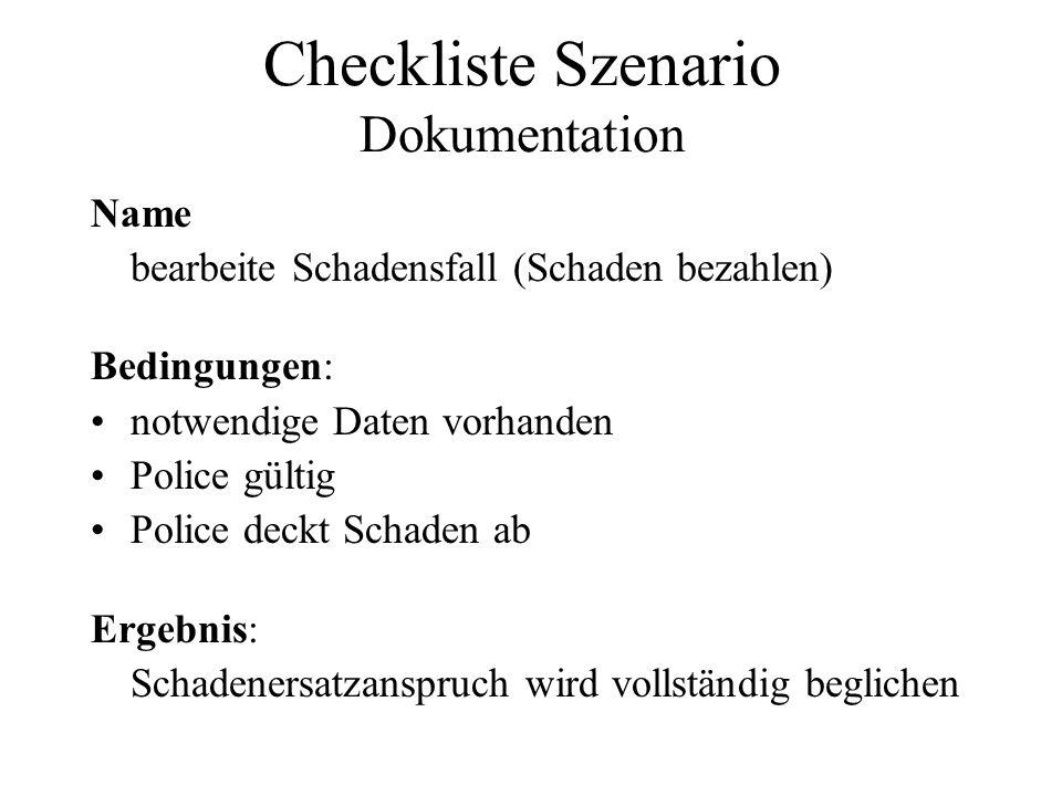 Checkliste Szenario Dokumentation