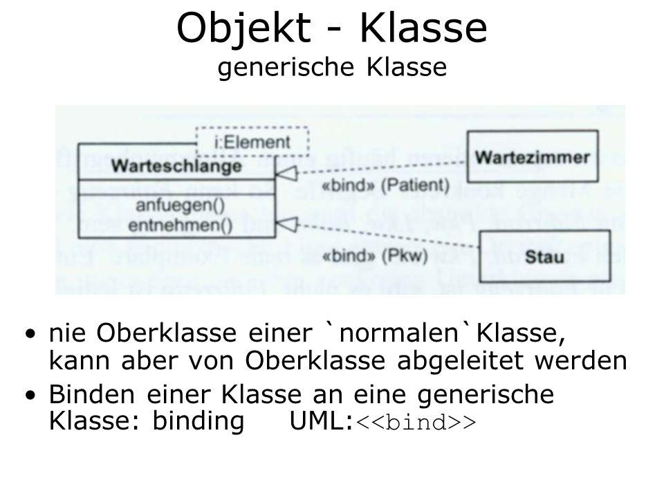 Objekt - Klasse generische Klasse