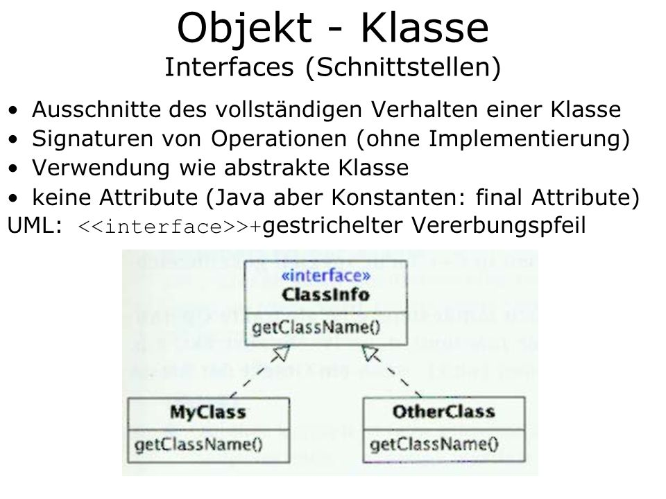 Objekt - Klasse Interfaces (Schnittstellen)