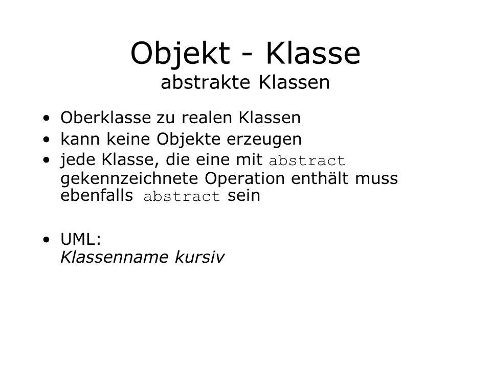 Objekt - Klasse abstrakte Klassen