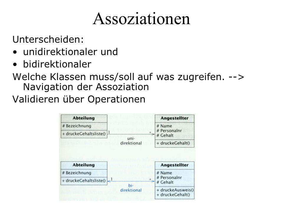 Assoziationen Unterscheiden: unidirektionaler und bidirektionaler