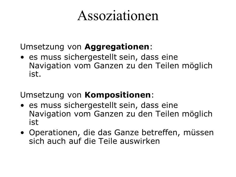 Assoziationen Umsetzung von Aggregationen: