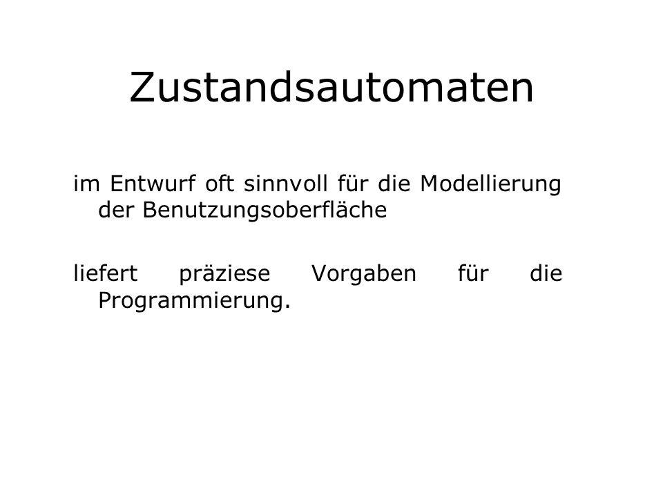 Zustandsautomaten im Entwurf oft sinnvoll für die Modellierung der Benutzungsoberfläche.
