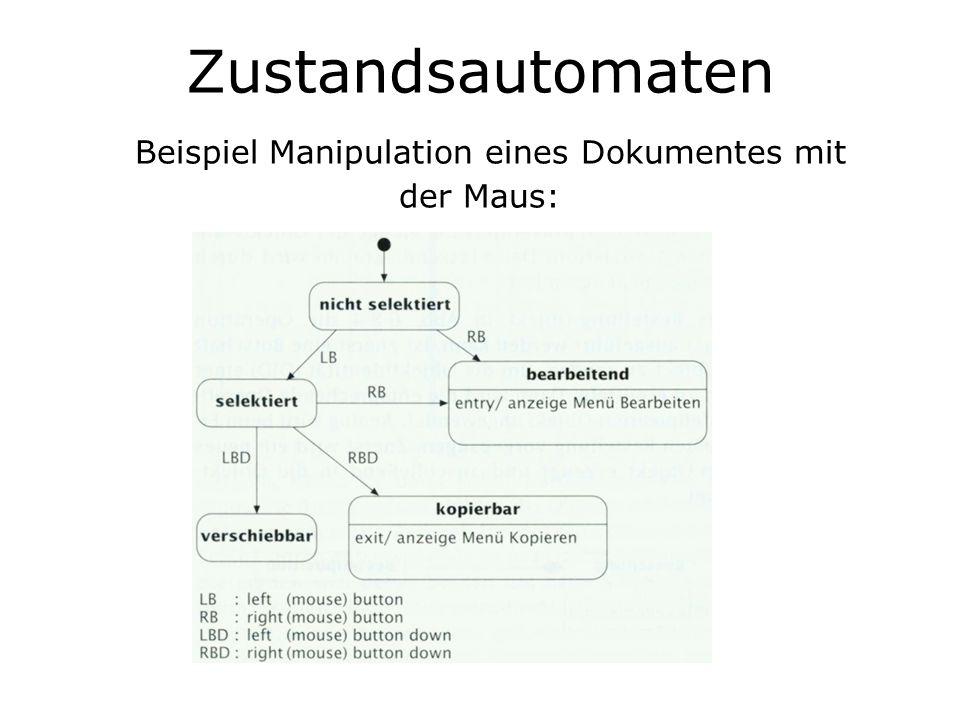 Zustandsautomaten Beispiel Manipulation eines Dokumentes mit der Maus: