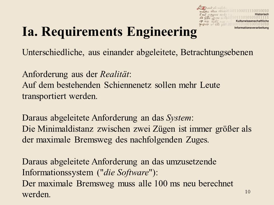 Ia. Requirements Engineering