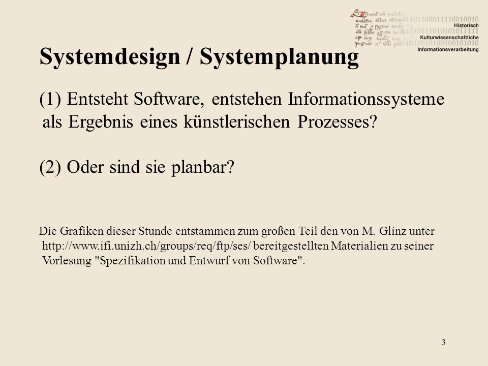 Systemdesign / Systemplanung