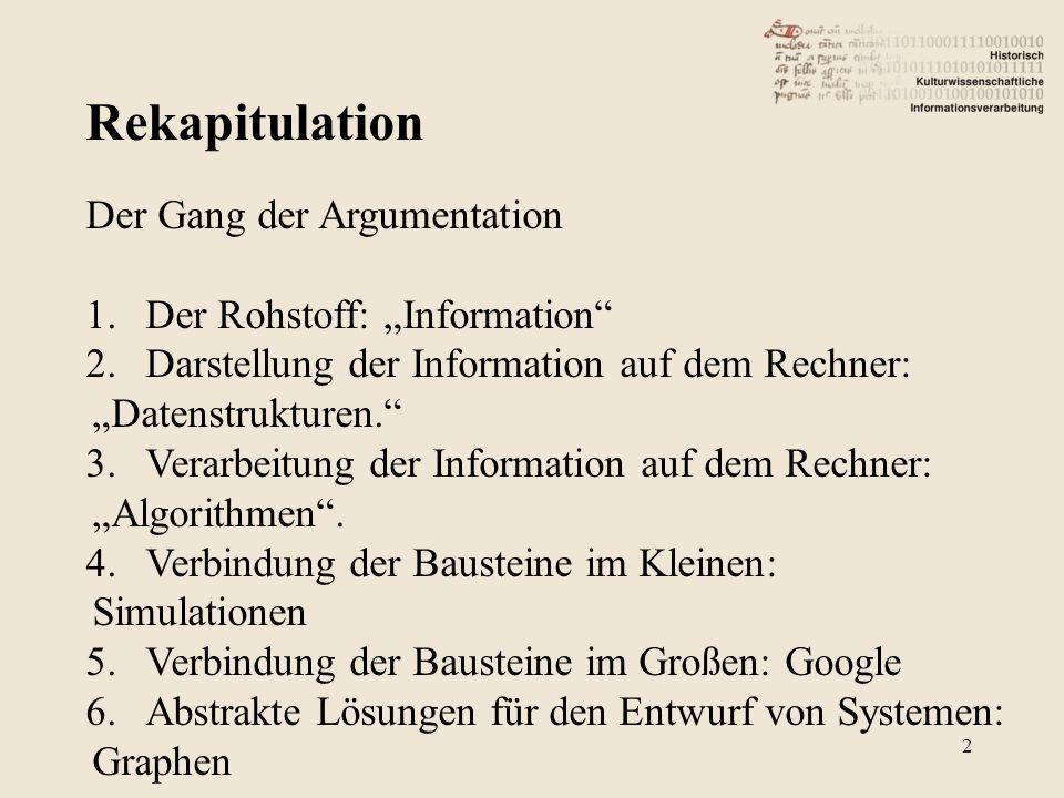 """Rekapitulation Der Gang der Argumentation Der Rohstoff: """"Information"""
