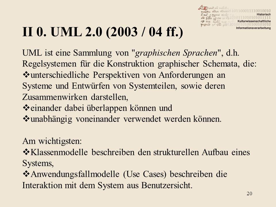 II 0. UML 2.0 (2003 / 04 ff.) UML ist eine Sammlung von graphischen Sprachen , d.h. Regelsystemen für die Konstruktion graphischer Schemata, die: