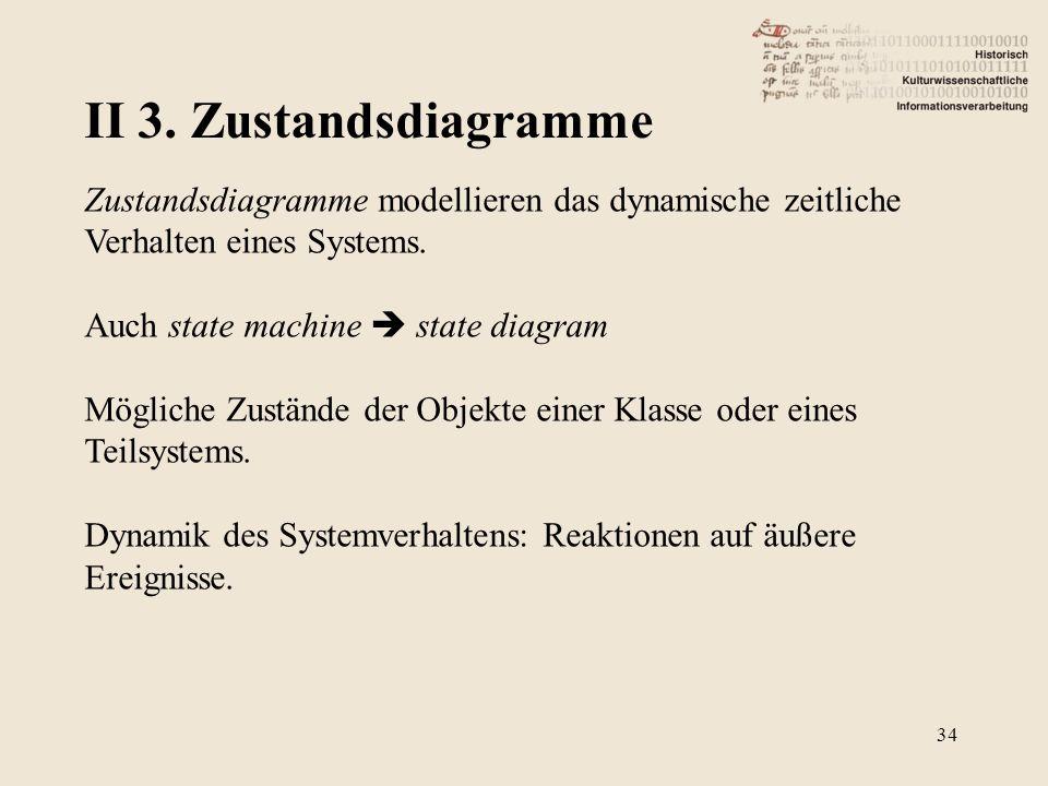 II 3. Zustandsdiagramme Zustandsdiagramme modellieren das dynamische zeitliche Verhalten eines Systems.