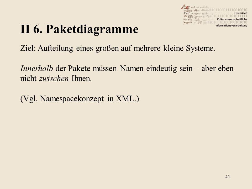 II 6. Paketdiagramme Ziel: Aufteilung eines großen auf mehrere kleine Systeme.