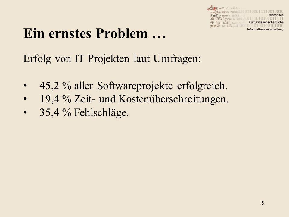 Ein ernstes Problem … Erfolg von IT Projekten laut Umfragen: