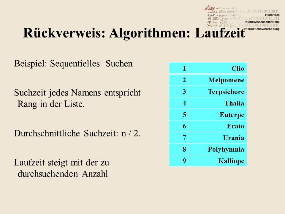 Rückverweis: Algorithmen: Laufzeit