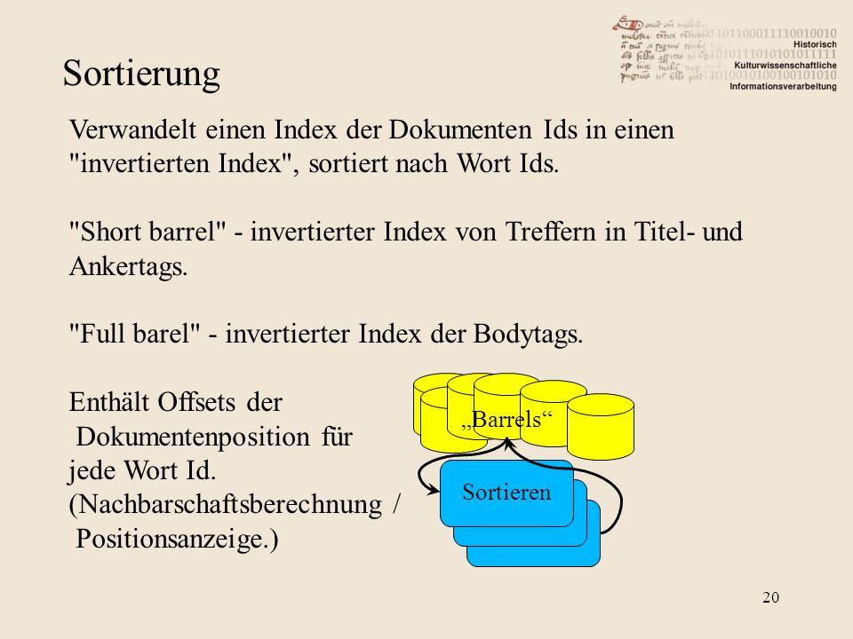 Sortierung Verwandelt einen Index der Dokumenten Ids in einen invertierten Index , sortiert nach Wort Ids.