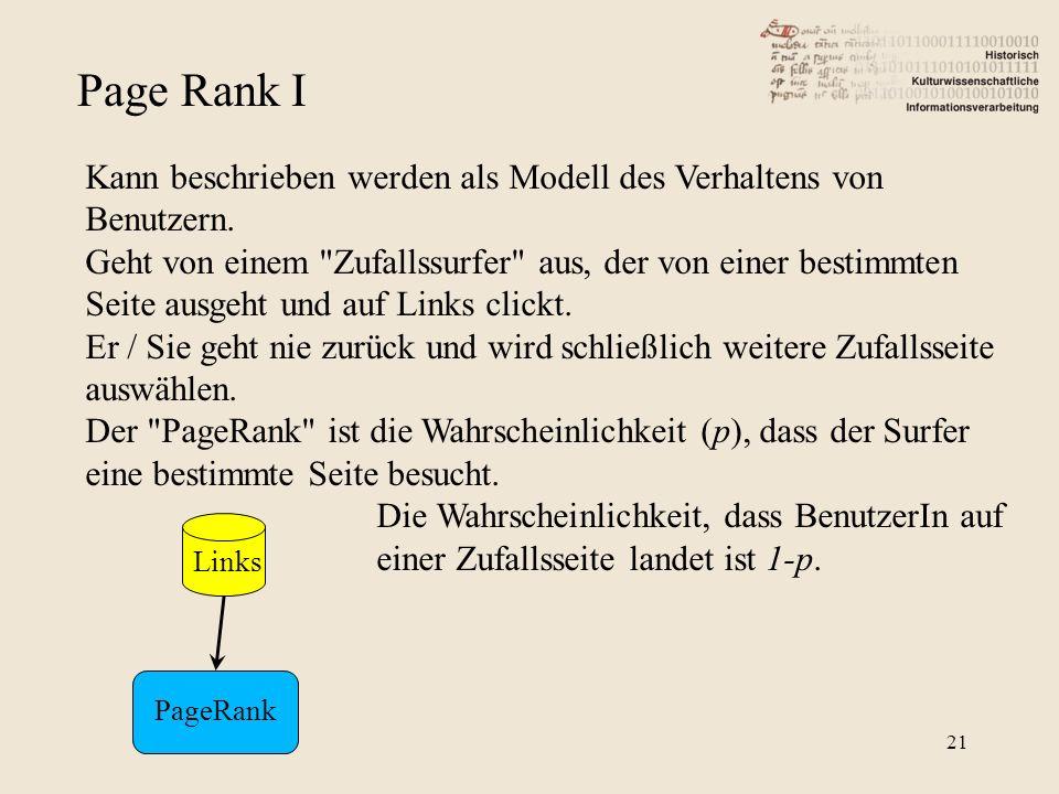 Page Rank I Kann beschrieben werden als Modell des Verhaltens von Benutzern.