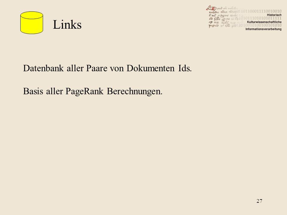 Links Datenbank aller Paare von Dokumenten Ids.