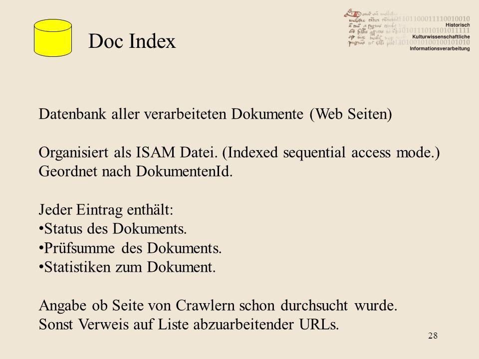 Doc Index Datenbank aller verarbeiteten Dokumente (Web Seiten)