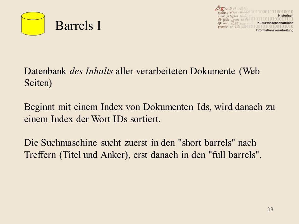 Barrels I Datenbank des Inhalts aller verarbeiteten Dokumente (Web Seiten)