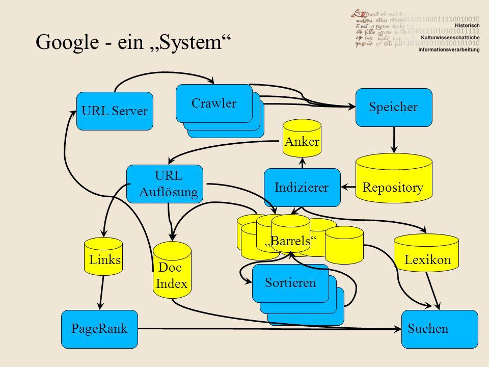 """Google - ein """"System Crawler Speicher URL Server Anker URL Auflösung"""