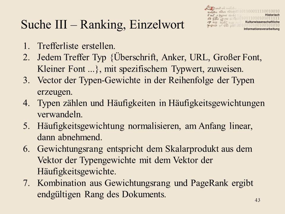 Suche III – Ranking, Einzelwort