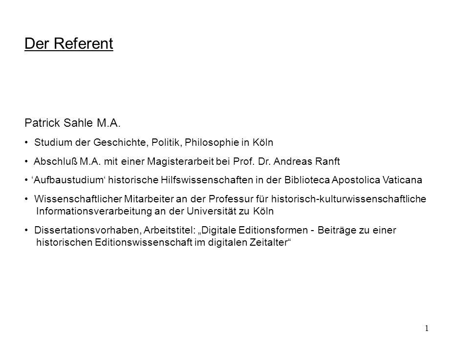 Der Referent Patrick Sahle M.A.