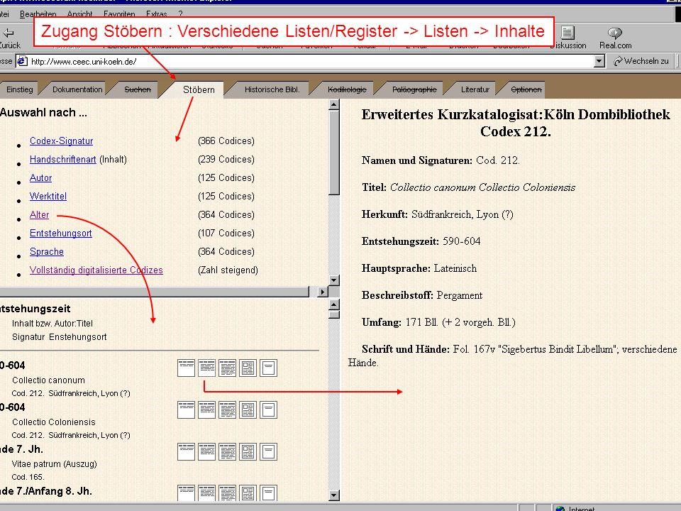 Zugang Stöbern : Verschiedene Listen/Register -> Listen -> Inhalte