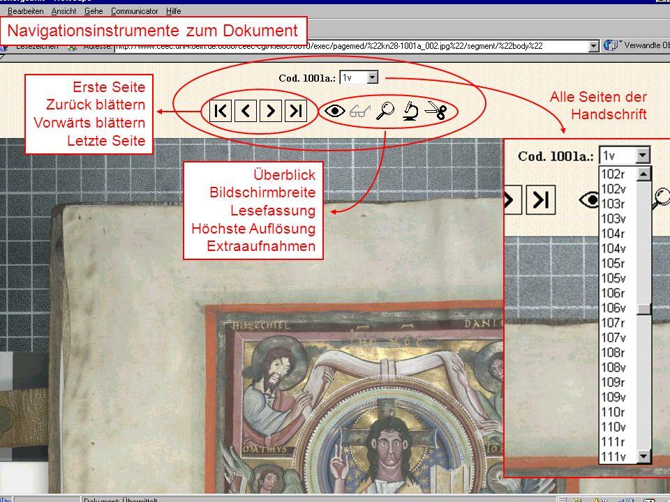 Navigationsinstrumente zum Dokument