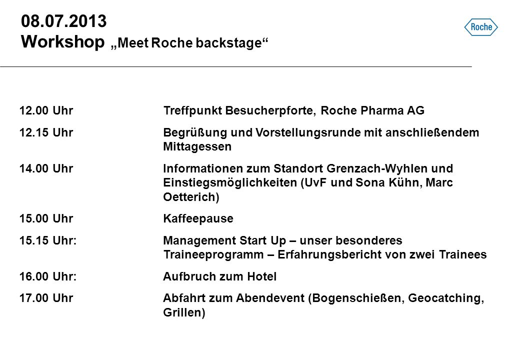 "Workshop ""Meet Roche backstage"