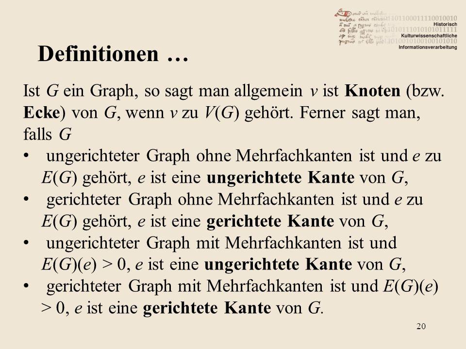Definitionen … Ist G ein Graph, so sagt man allgemein v ist Knoten (bzw. Ecke) von G, wenn v zu V(G) gehört. Ferner sagt man, falls G.