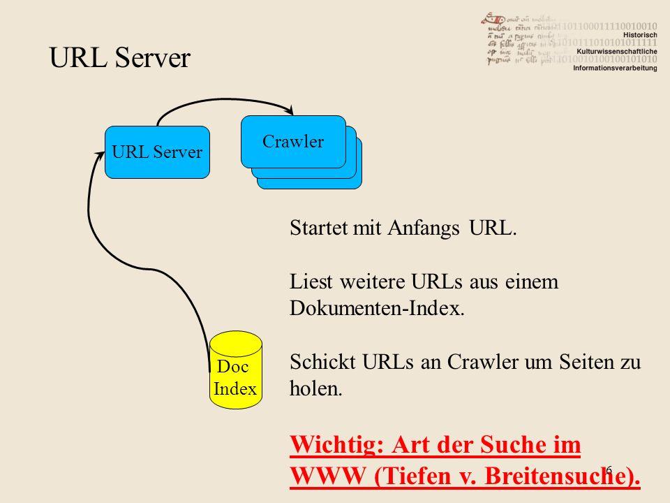 URL Server Wichtig: Art der Suche im WWW (Tiefen v. Breitensuche).