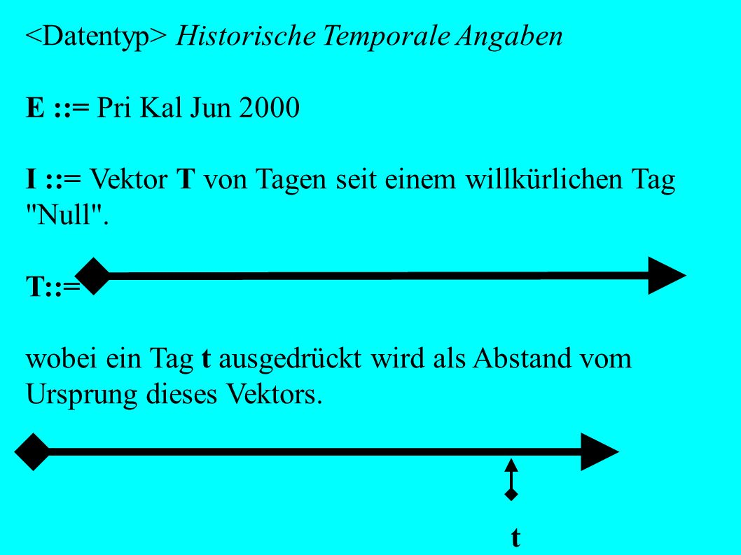 <Datentyp> Historische Temporale Angaben E ::= Pri Kal Jun 2000