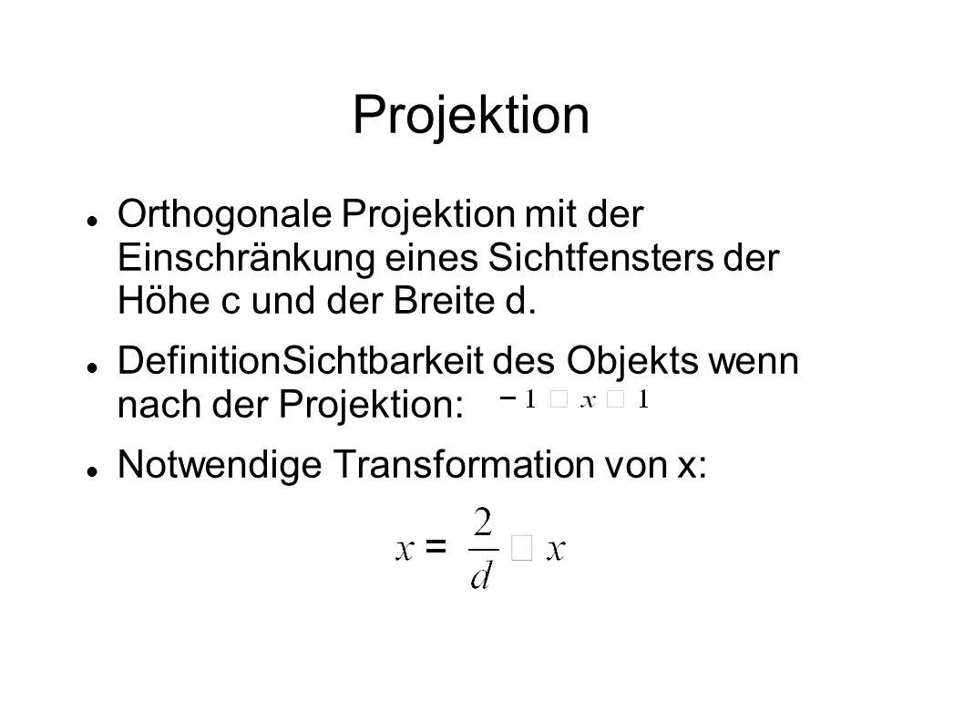 ProjektionOrthogonale Projektion mit der Einschränkung eines Sichtfensters der Höhe c und der Breite d.