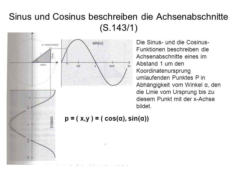 Sinus und Cosinus beschreiben die Achsenabschnitte (S.143/1)
