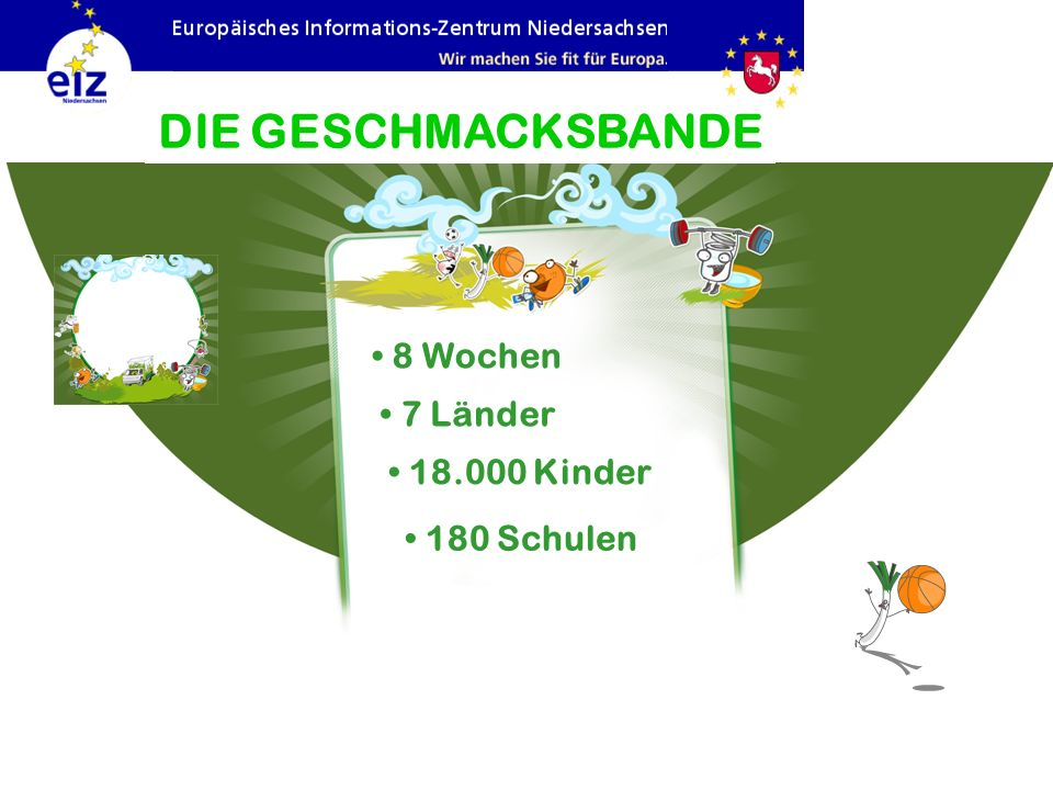 DIE GESCHMACKSBANDE 8 Wochen 7 Länder 18.000 Kinder 180 Schulen