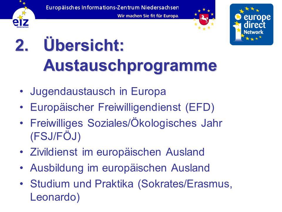 2. Übersicht: Austauschprogramme