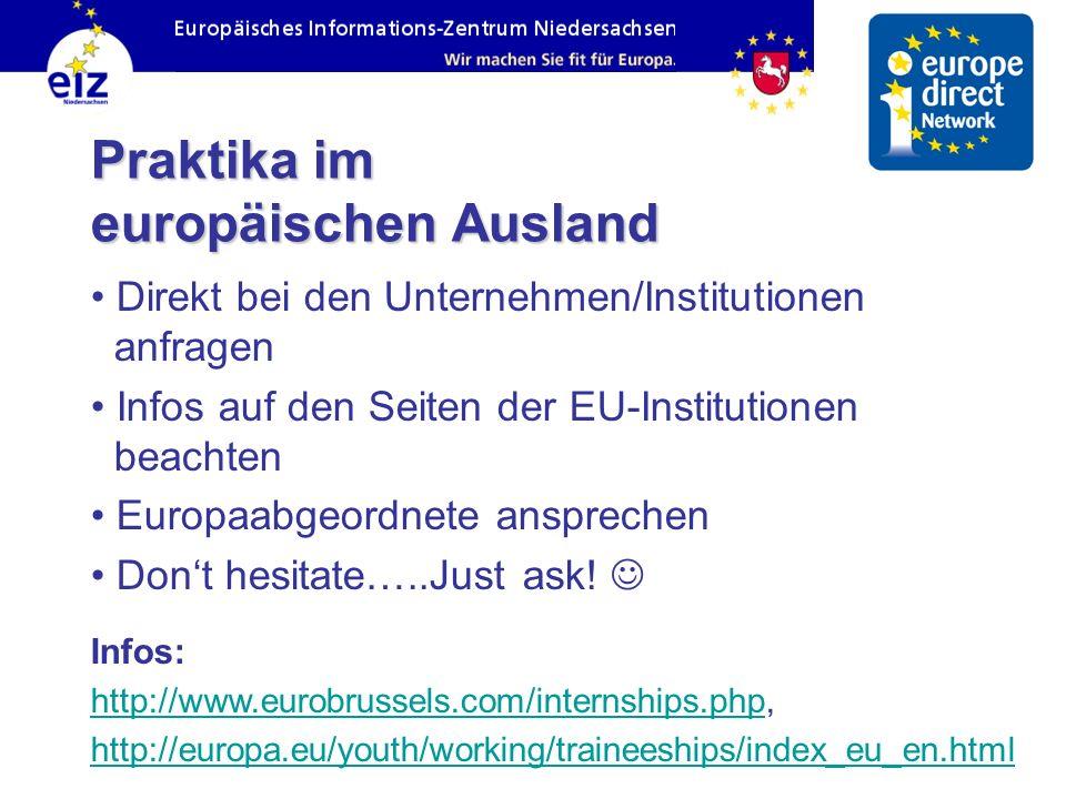 Praktika im europäischen Ausland