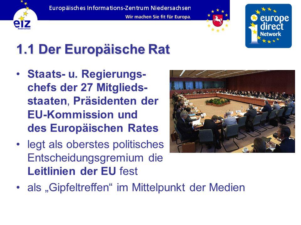 1.1 Der Europäische Rat Staats- u. Regierungs- chefs der 27 Mitglieds- staaten, Präsidenten der EU-Kommission und des Europäischen Rates.