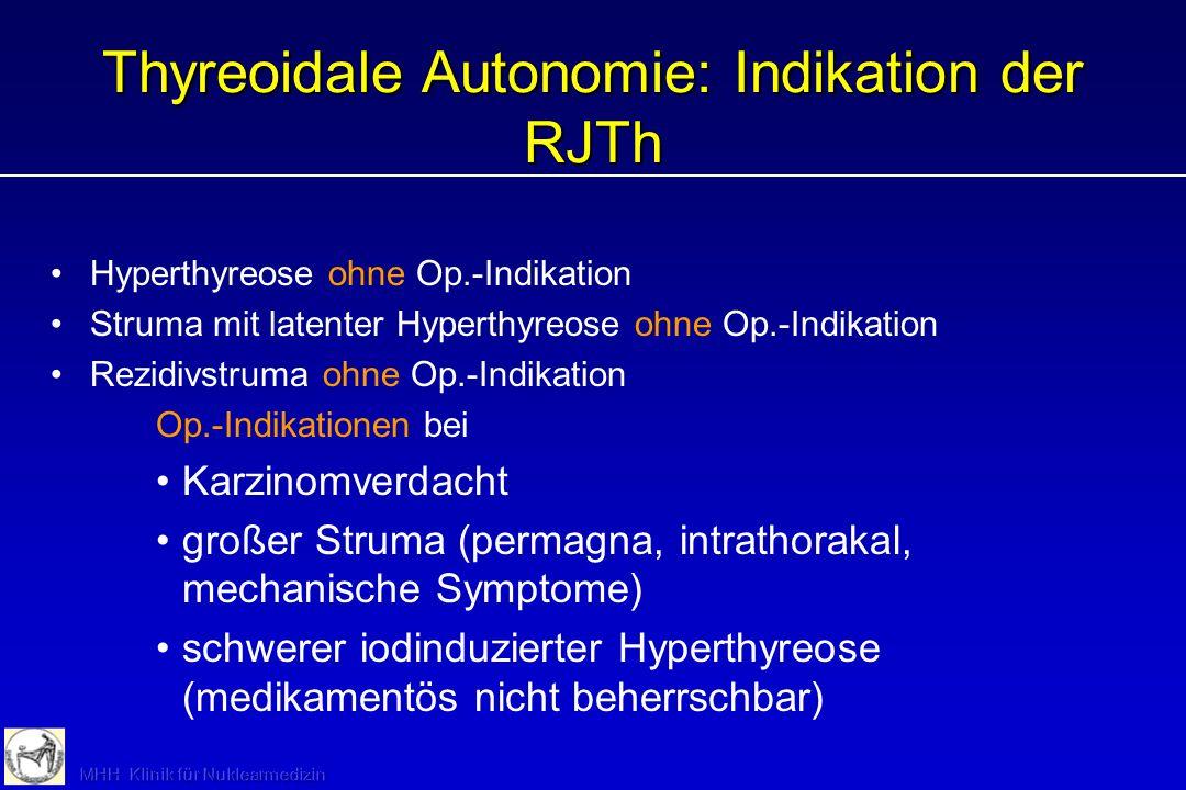 Thyreoidale Autonomie: Indikation der RJTh