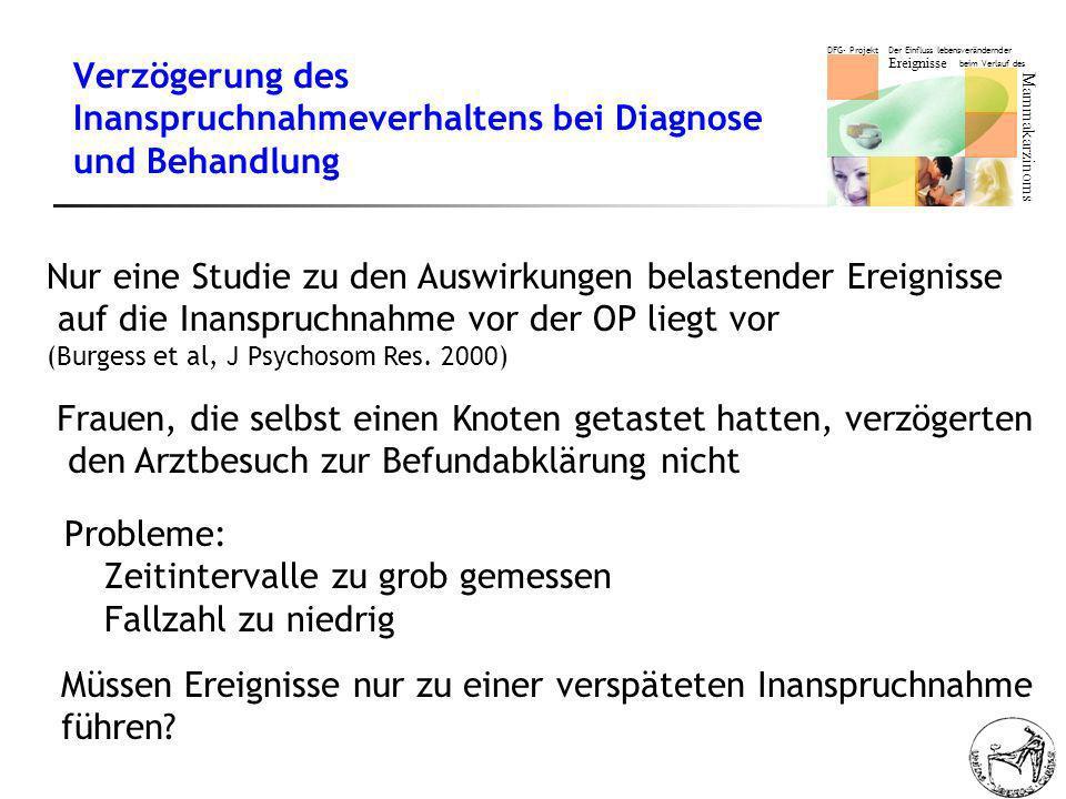 Verzögerung des Inanspruchnahmeverhaltens bei Diagnose und Behandlung