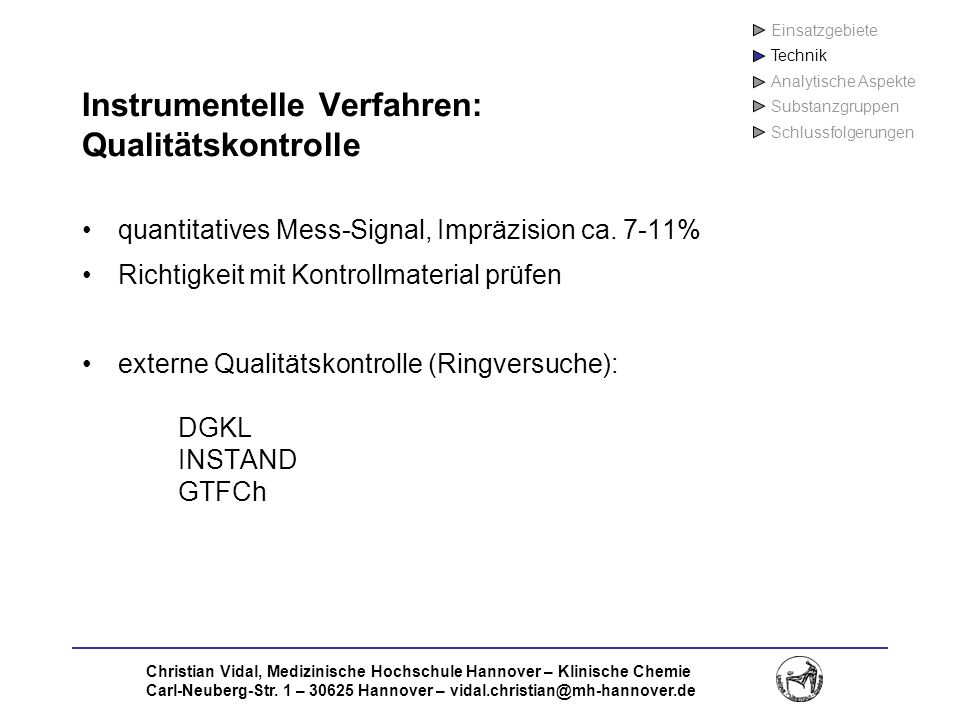 Instrumentelle Verfahren: Qualitätskontrolle