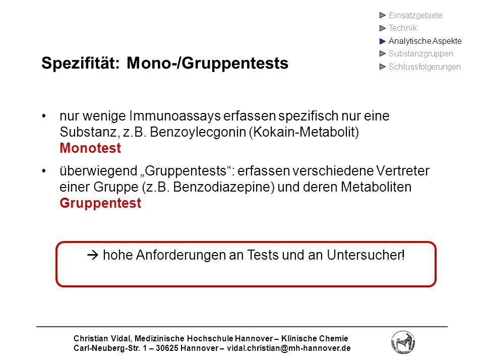 Spezifität: Mono-/Gruppentests